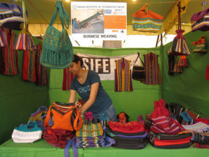 """A stall displaying handicrafts made by the Burmese refugees - part of """"Weaving Hope"""" initiative by SIFE IITD"""