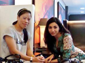 Shireen Irani (right), Founder of i-Probono, with Mary Kom at London