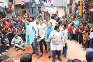 INDUS ACTION's street play, on Section 12, in progress at Chattarpur.