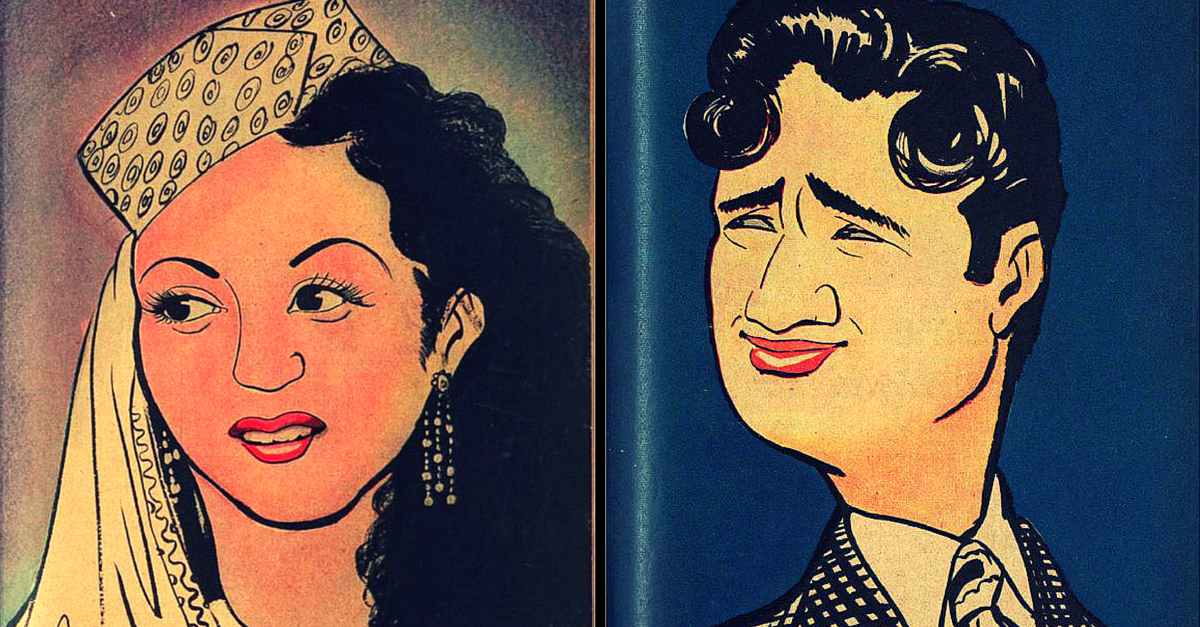 RARE FIND: 10 Stunning Sketches of Hindi Movie Stars Drawn by R.K. Laxman in 1952