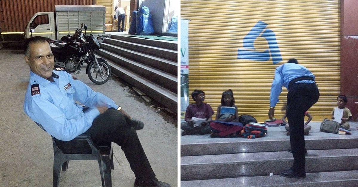 In the Blue Light Filtering From an ATM, This Security Guard Teaches Poor Kids Every Evening