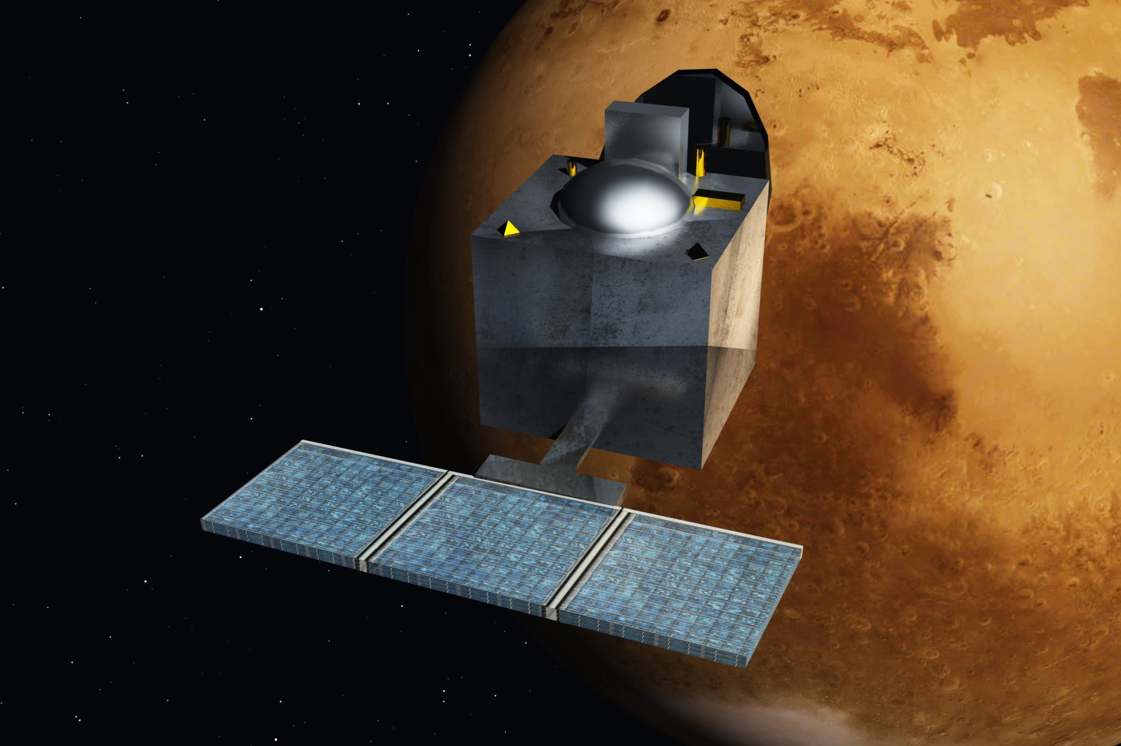 """An artist's concept art of India's Mangalyaan mission. """"People focus on Chandrayaan and Mangalyaan, and are often unaware of ISRO's significant contribution to other spheres of India's development,"""" Mishra says. (Source: <a href=""""https://commons.wikimedia.org/wiki/File:Mars_Orbiter_Mission_-_India_-_ArtistsConcept.jpg#/media/File:Mars_Orbiter_Mission_-_India_-_ArtistsConcept.jpg"""" target=""""_blank"""">Wikimedia Commons</a>)"""