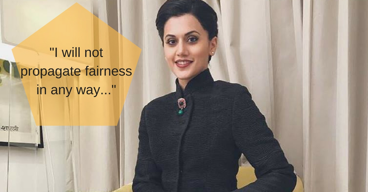 Pink Actress Taapsee Pannu Takes a Bold Stand Against Fairness Cream Brands