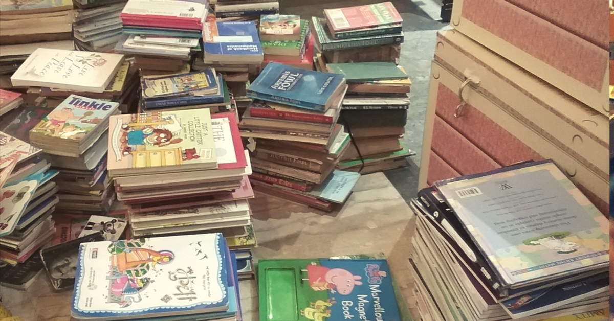 Books donated to create a library. Picture Courtesy: Speaking Chalk.