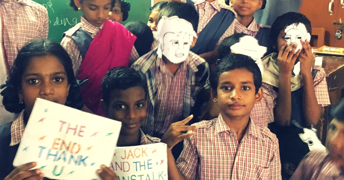 Children holding up props used in a program. Picture Courtesy: Speaking Chalk.
