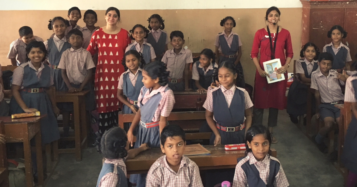 Volunteers with students of A.U. English Medium School. Picture Courtesy: Speaking Chalk.