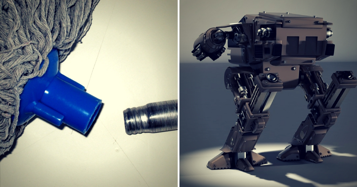 Amazing! 5th Standard Boy Builds Robot That Cleans and Mops on Command!