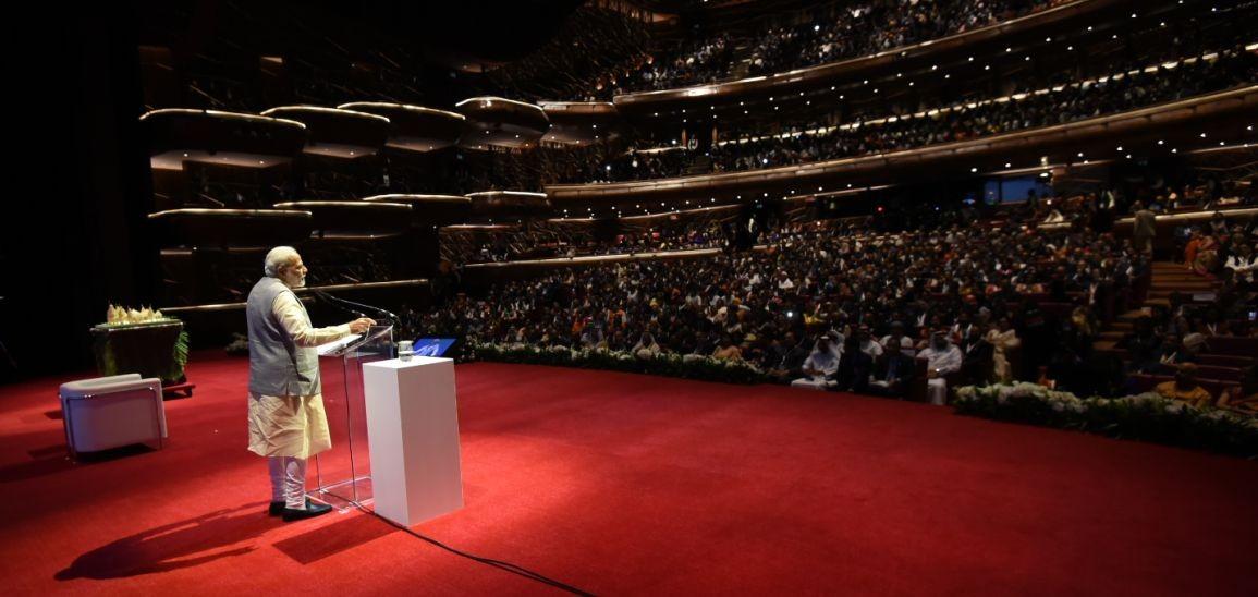 Prime Minister Modi address community programme in Dubai (Source: narendramodi.in)
