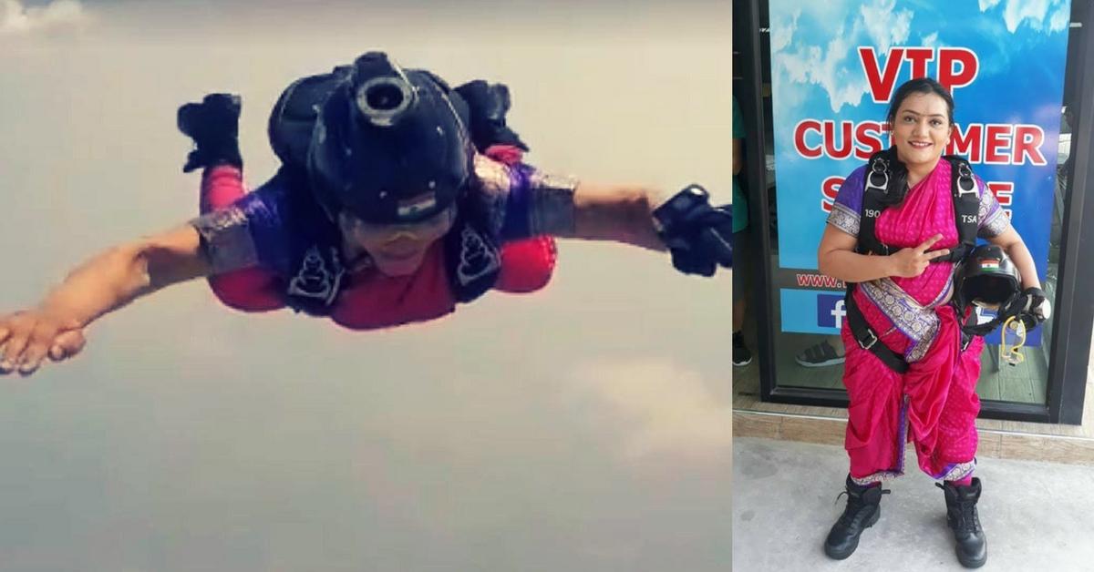 "Video: Padma-Winning ""Marathi Mulgi"" Sets Record, Sky-Dives In A Nauwari Sari!"
