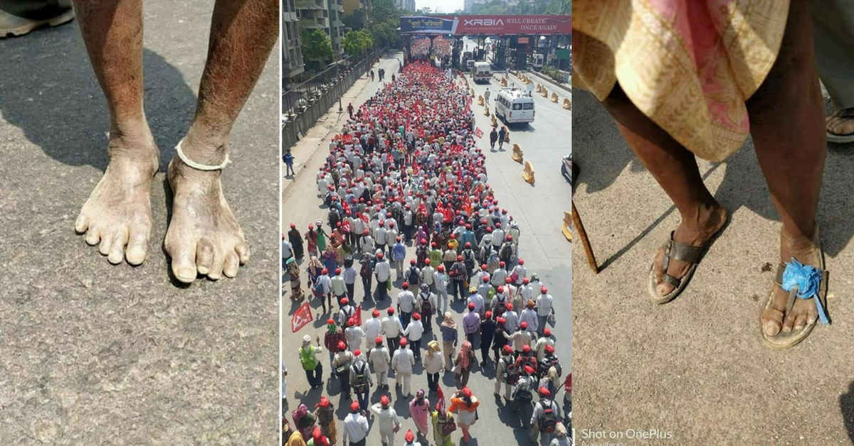 Moved by Hungry Farmers Marching in Bare Feet, Mumbai Donates Food, Footwear