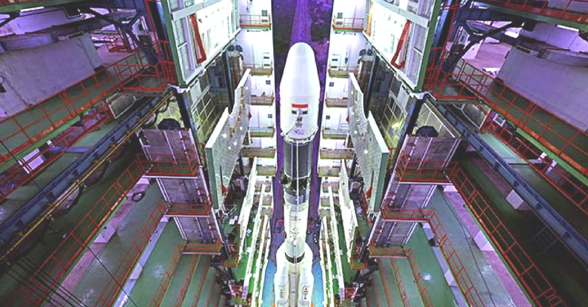 Fully Integrated GSLV-F08 inside the Vehicle Assembly Building. (Source: ISRO)