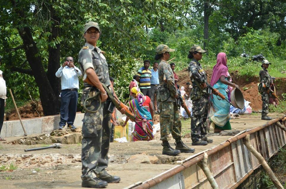 Women commandos overseeing a road construction project in Bastar district. (Source: Facebook/Bastar Police)