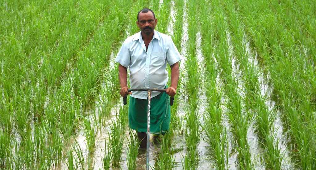 Verma has designed simple farm implements to help farmers work efficiently. (Photo by PRAN)