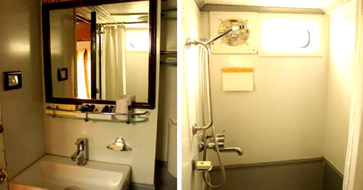 The bathrooms on this luxury train are truly a sight to behold. Image Credit: Facebook.