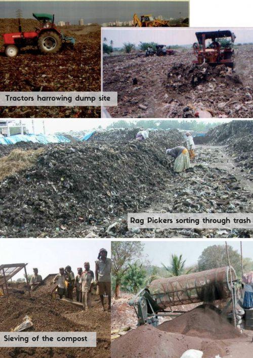 Tractors harrowing dump site