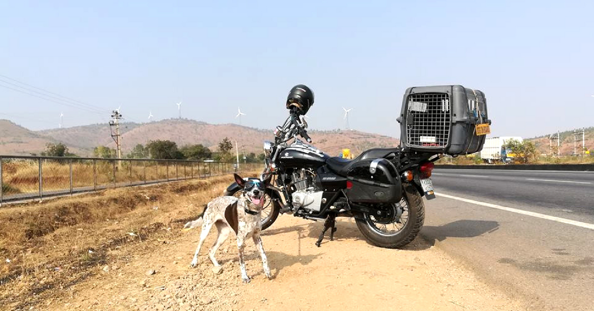 Chandramouli has her own pair of riding goggles, and a pet carrier to travel in comfort. Image Courtesy: Gowtham.