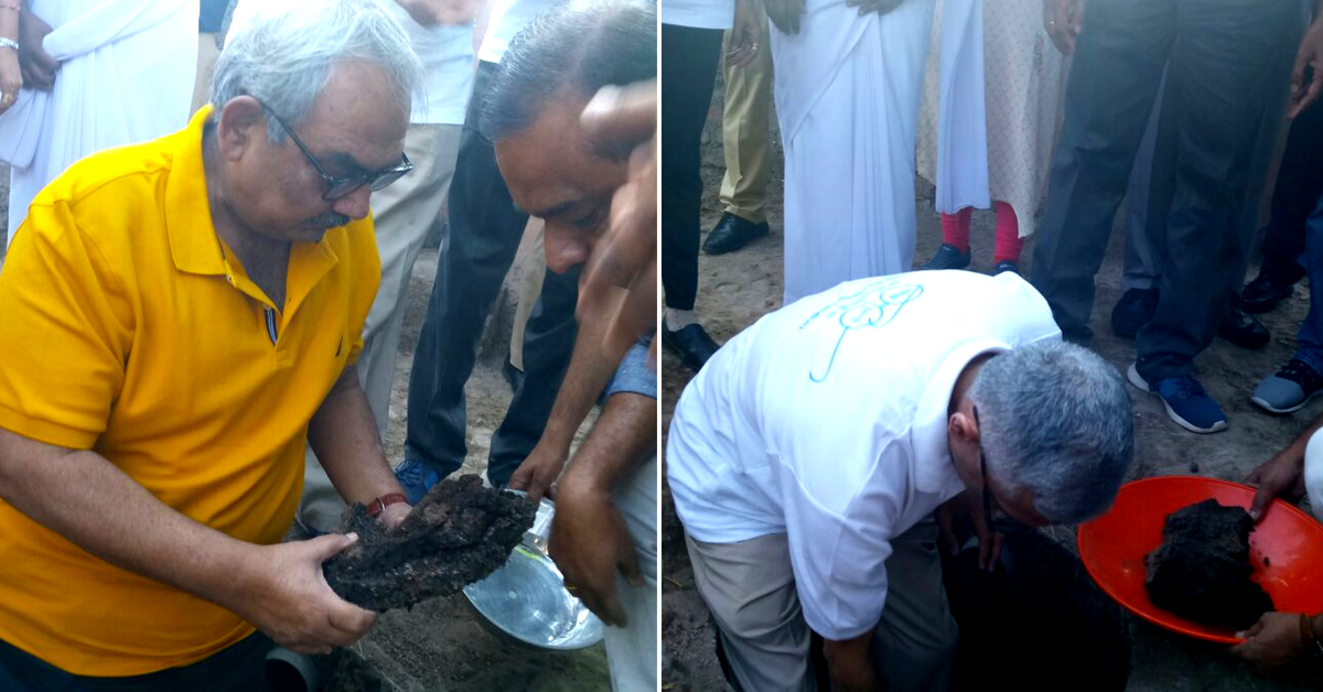 The CAG of India, and other digThe CAG of India, and other dignitaries descended into the pit, to take out the compost. Image Credit: Param Iyer (Twitter)nitaries descended into the pit, to take out the compost.