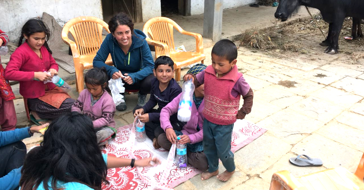 The women were enthusiastic, and were adept at using shredded, recycled plastic to make pillows. Image Credit: India Hikes