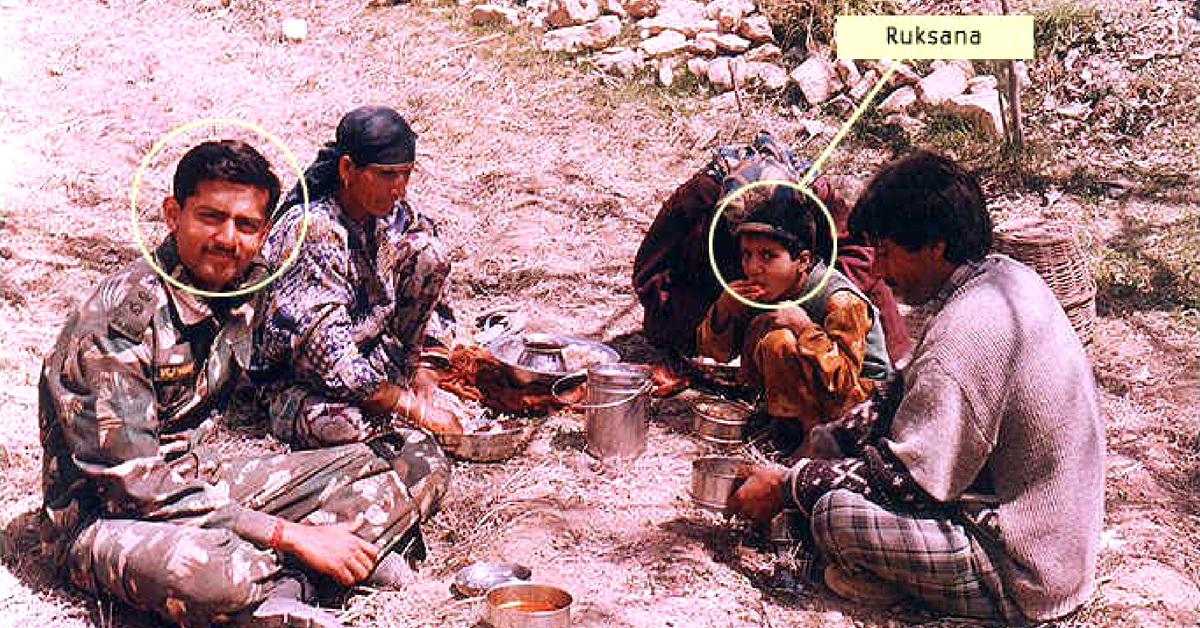 Captain Thapar, in Kargil, along with Ruksana, who had lost the ability to speak. Image Credit:Indian Military System