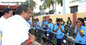 Chief Minister HD Kumaraswamy adressing school students. For representational purposes only. (Source: Facebook/Namma HDK)