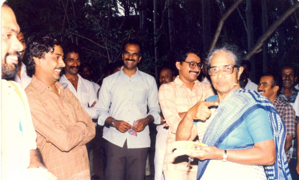 Anna Mani at her farewell get-together at the Raman Research Institute in 1980 (Photo: RRI Digital Repository)