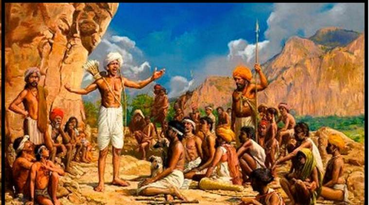 Painting of Birsa Munda addressing his followers. (Source: Wikimedia Commons)