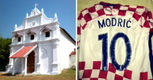 Sao Braz church in Goa (Left) and the jersey of Croatian team captain this World Cup Luka Modric. (Source: Facebook)