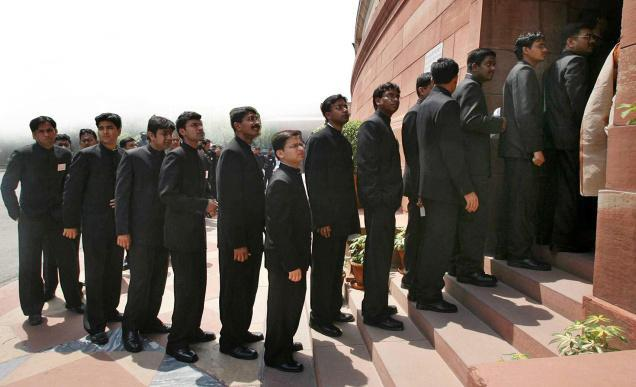 IAS trainee officers line up before Parliament. (Source: Facebook/Ambikesh Gupta)