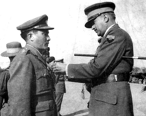Major Rinchen receives the Sena Medal from the then Chief of the Army Staff, General J N Chaudhury (Source: Claude Arpi)