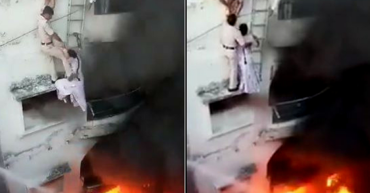 In Heart-Stopping Rescue, Delhi Cops Save Couple Hanging from Burning Balcony!