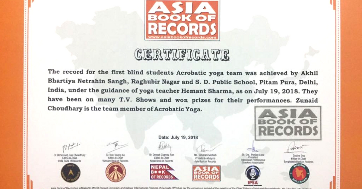 The visually-challenged children in Delhi's Blind Yoga Artists group have been mentioned in the Asia Book of Records. Photo Source