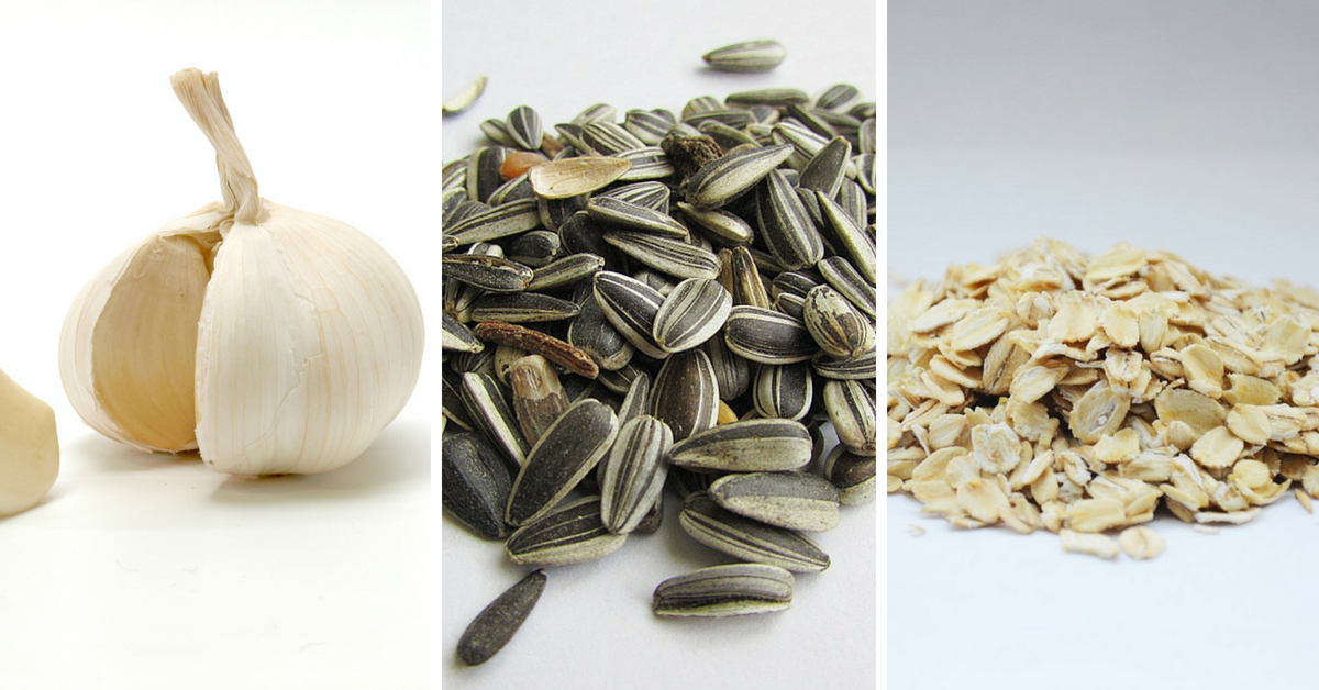 Garlic, sunflower seeds and oatmeals