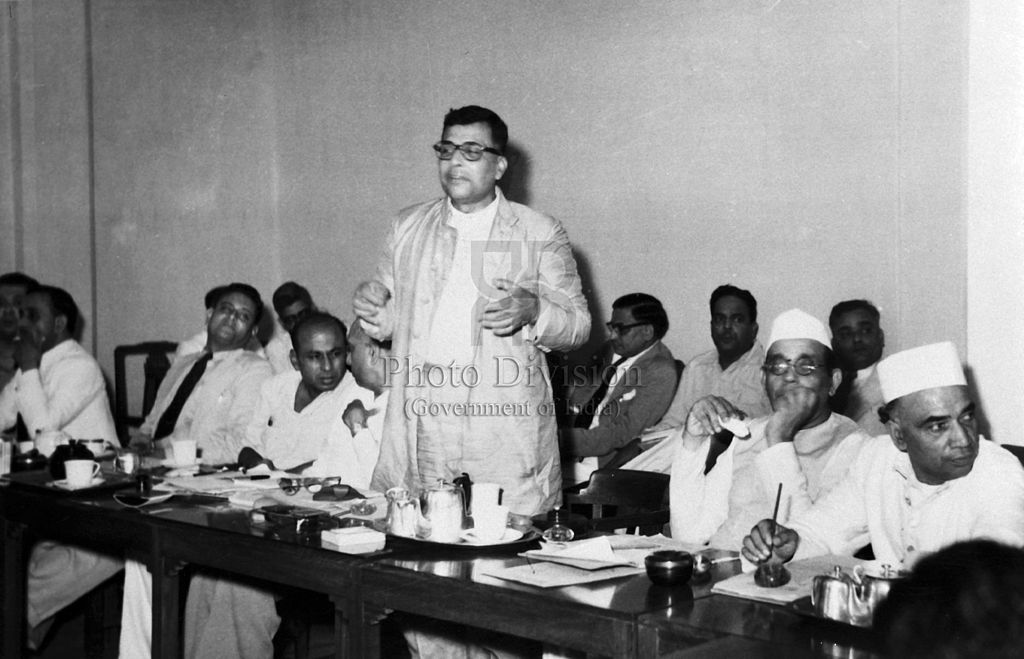Harekrushna Mahatab, Minister for Industry and Supply, Government of India, addressing the Textiles Advisory Committee Meeting held in Bombay in June, 1950. (Source: Wikimedia Commons)