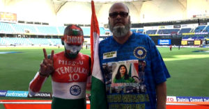 Sudhir Gautam with Chacha Chicago, at the Asia Cup. Image Credit: Sudhir Kumar Gautam