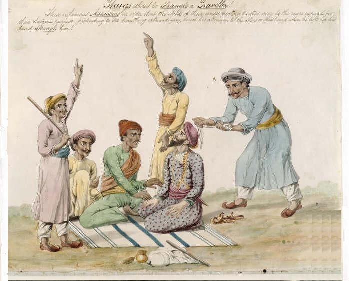 A sketch of Thugs about to strangle a traveler. (Source: Wikimedia Commons)