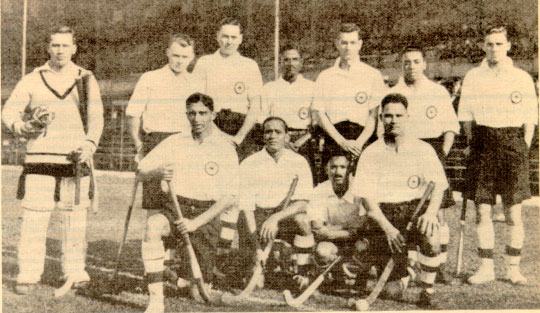 Indian hockey team in the 1928 Olympics after their first match versus Austria. (Source: Wikimedia Commons)