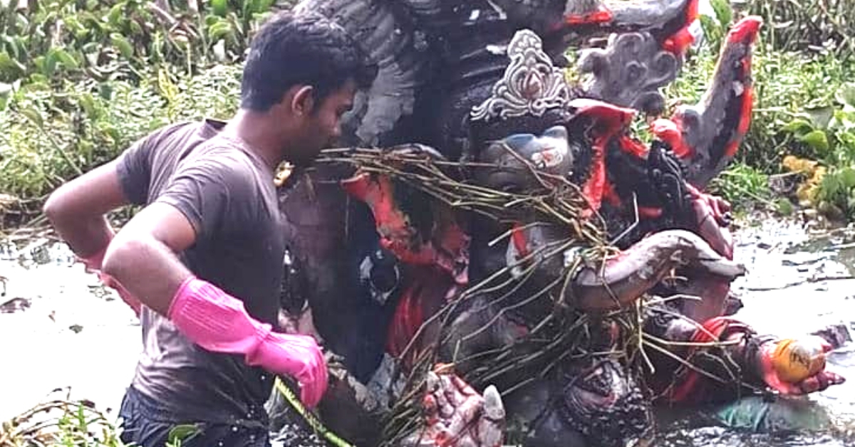 Locals Breathe Life Into Dying Bengaluru Lake, Clear Idol Debris Themselves