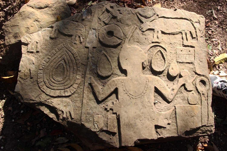 Engravings on a menhir at Vangchchia