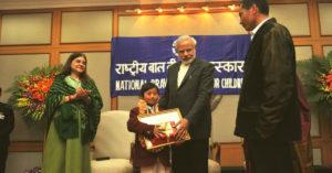 Prime Minister Narendra Modi presenting the National Bravery award to Mhonbeni Ezung. (Source: Twitter/Narendra Modi)