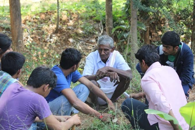 L Narayana Reddy teaching interested students the gospel of organic farming. (Source: Facebook)