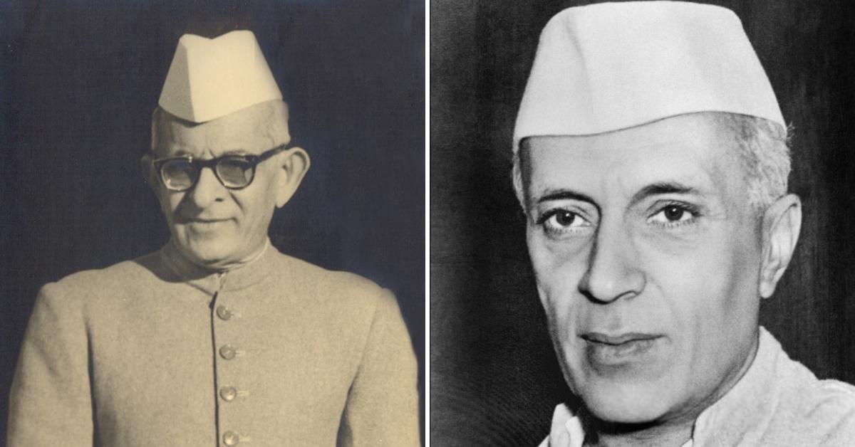 KM Munshi (Left) & Jawaharlal Nehru (Right). (Source: Bombay High Court/Wikimedia Commons)
