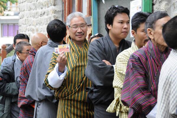 Voters in queue for voting in #Bhutan2013 elections. (Source: Twitter)