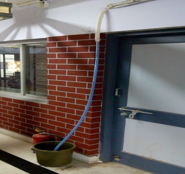 The condensed water from Air Conditioner judiciously collected in buckets
