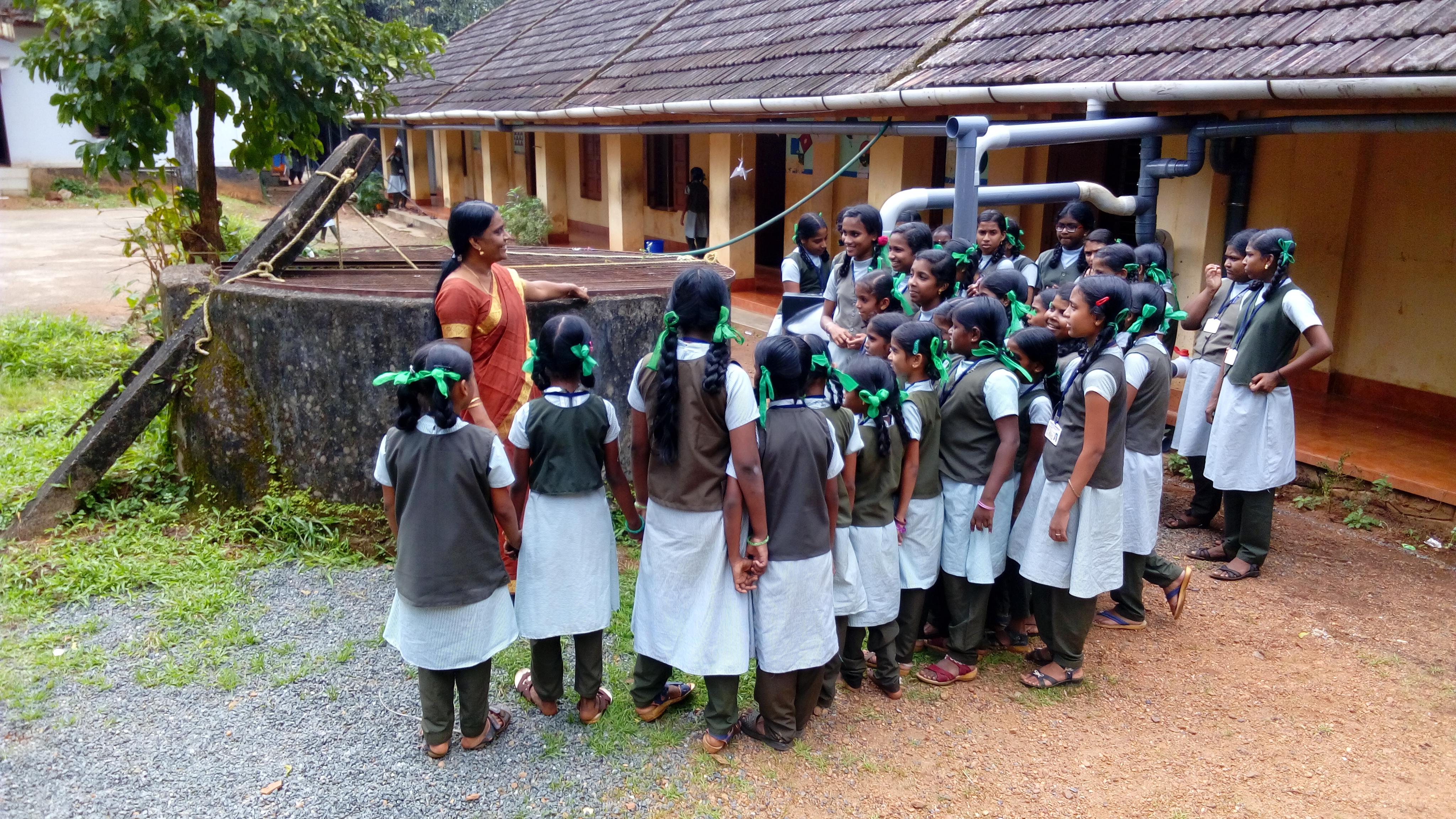 Demonstration of the Mazhapolima well recharging system at a school. (Source: Mazhapolima)
