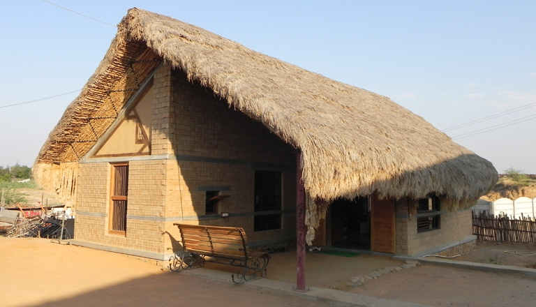 Thatched roof construction by women's collective called Matha Chhaj. (Source: Matha Chhaj)