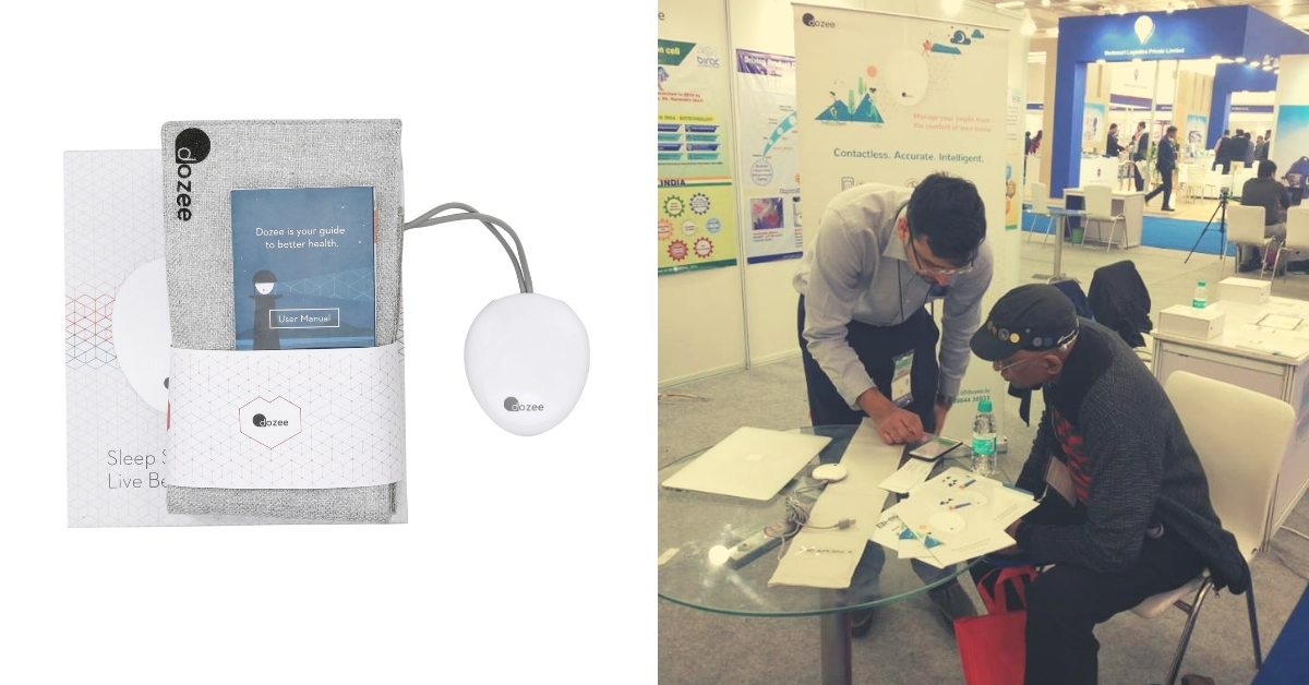 Dozee Health Monitoring Device (L). Explaining it to customers how to use it. (Source: Dozee)