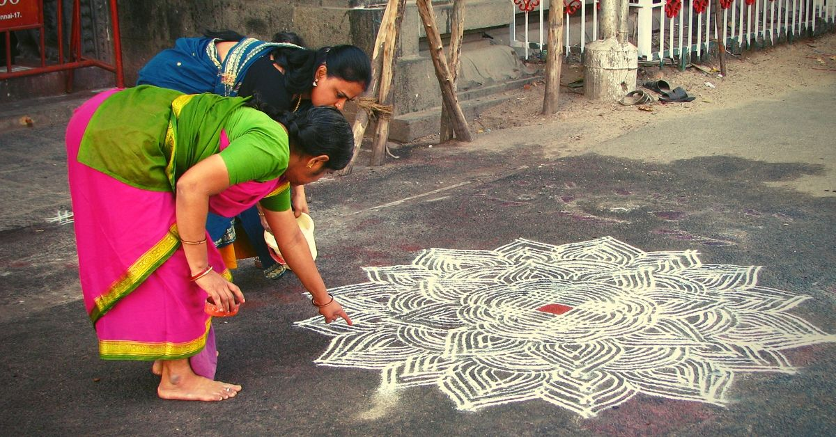 How a Pinch of Rice Flour, Math & Imagination Led to the Ancient Art of Kolam