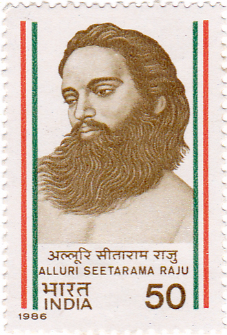 Alluri Sitarama Raju postage stamp. (Source: Wikimedia Commons)