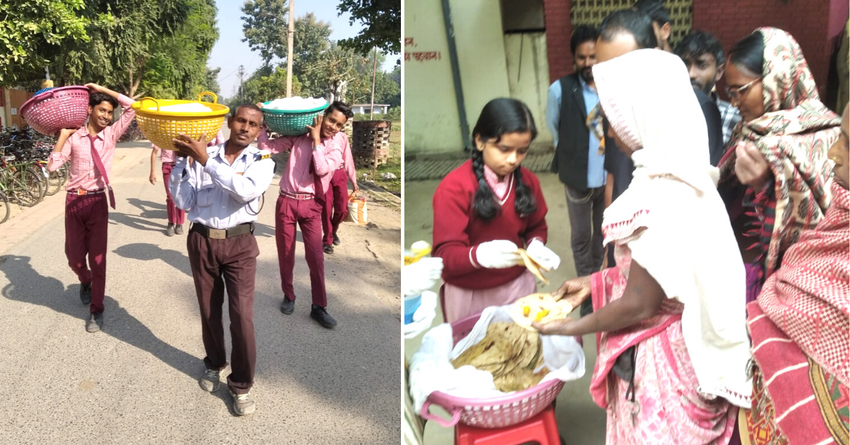2000+ Students Of This UP School Share Their Tiffin With The Needy Outside Hospital