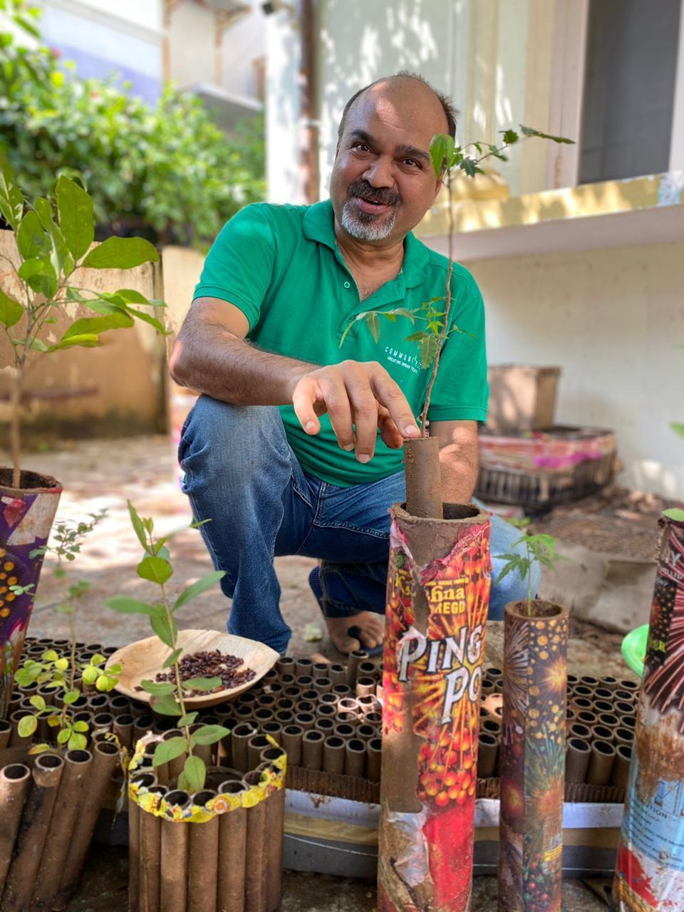 Chennai Man Collects Empty Firecracker Cases, Turns Them Into Plant Holders